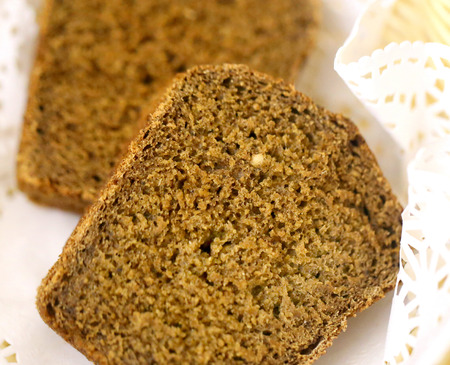 Macro photo of fresh rye bread in a basket on the table
