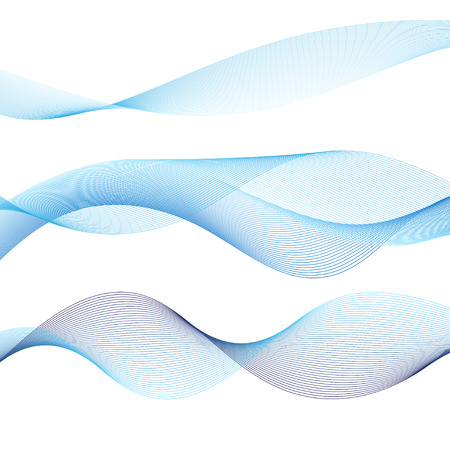 Abstract blue sea waves lines isolated on white background
