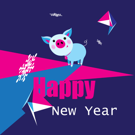 Festive New Year greeting card. Vector funny pig. Cute cartoon funny character. Flat isolated design.