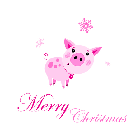 Festive New Year greeting card. Vector pink funny pig. Cute cartoon funny character. Flat isolated design.