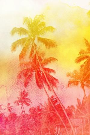 Bright photo watercolor retro nature palm trees exotic tropics Stock Photo