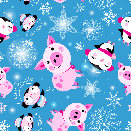 Seamless Christmas pattern of piglets and penguins on a blue background with snowflakes Stock Vector - 126644838