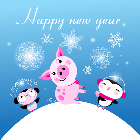 Congratulatory Christmas card with a pig and penguins on a blue background with snowflakes