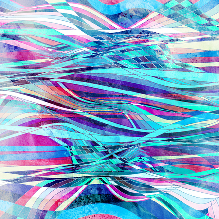Watercolor abstract background with different waves and lines