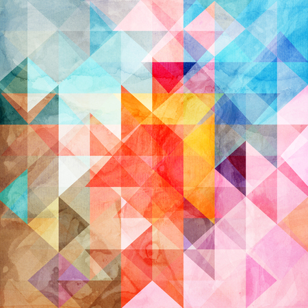 Watercolor abstract background with different geometric 写真素材