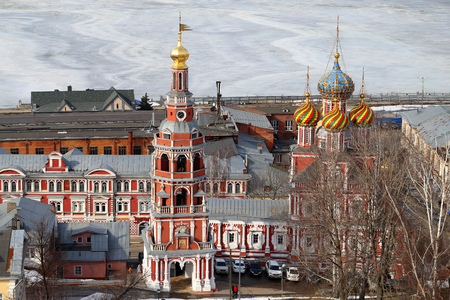 Photo beautiful views landscapes of Nizhny Novgorod from the top in winter