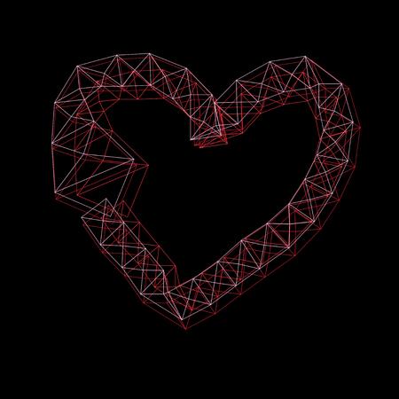 Graphic thin frame heart on a dark backgroundGraphic thin frame heart and on a dark background for Valentins Day