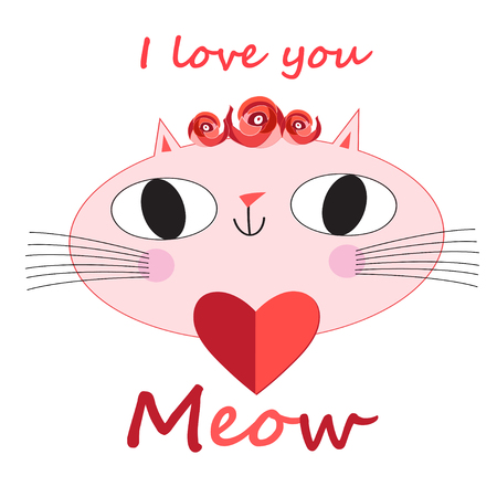 Cute cat vector.T-shirt Print.Love cards.Valentines Day.animal print.Children illustration for school books and much more. Separate subjects. Picture character.animal love.little princess.pussycat vector