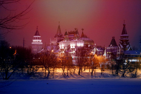 Photo background beautiful with the Russian Kremlin near Moscow in winter