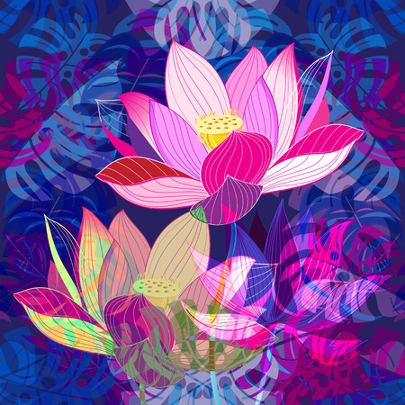 Vibrant pink lotus design on a tropical plant background