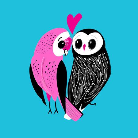 Festive postcard of big owls in love among hearts on a light background Иллюстрация
