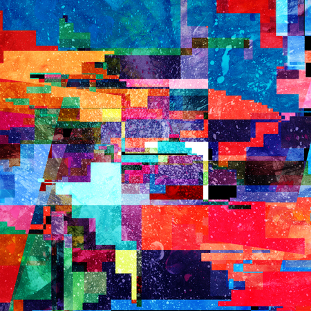 Abstract multicolored background with different geometric elements and buildings