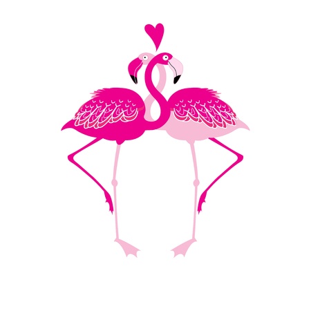Festive card with pink flamingos in love over white background