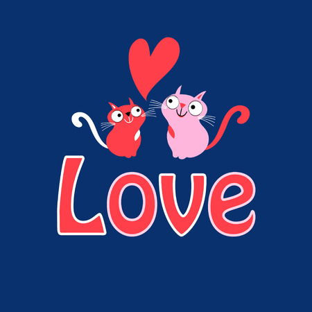Greeting Card funny loving cats on a blue background with hearts Illustration