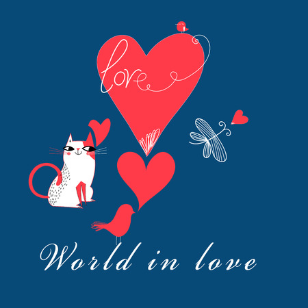 Festive super greeting cards with funny cats and birds on a blue background
