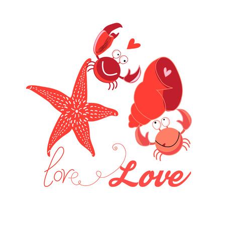 Bright Festive bright card with in love funny crabs on a white background Иллюстрация