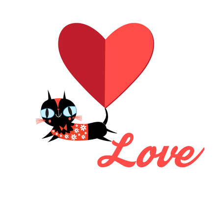 Cute cat vector.T-shirt Print.Love cards.Valentine's Day.animal print.Children illustration for school books and much more. Separate subjects. Picture character.animal love.little princess.pussycat vector Stok Fotoğraf - 116254581