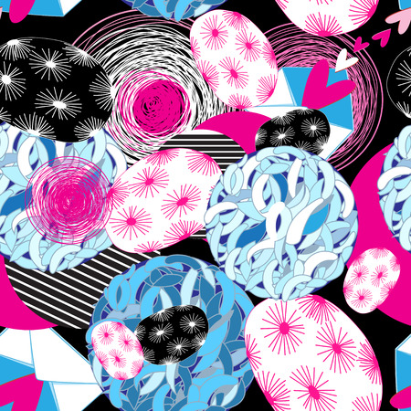 Festive bright abstract pattern with hearts and circles against a dark background