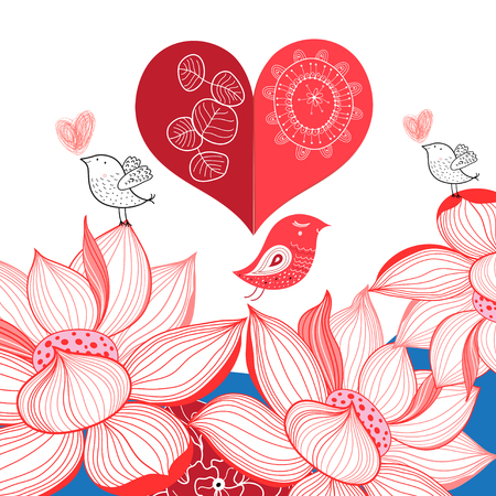 Festive bright card with birds in love on a white background with lotuses