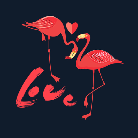 Festive card in love with red flamingos with a heart on a dark background Foto de archivo - 125421028