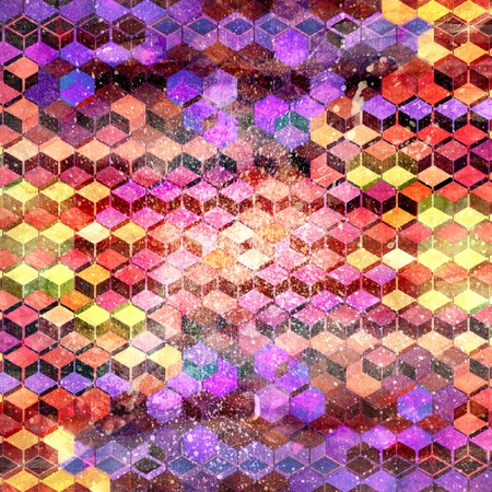 Abstract watercolor multicolored geometric background with different interesting elements. Sample design for the design of covers and web sites. 스톡 콘텐츠
