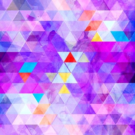 Abstract watercolor multicolored geometric background with different interesting elements. Sample design for the design of covers and web sites. Stock Photo