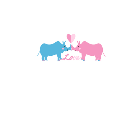 Festive bright beautiful card with rhinos in love on a white background. Design for web sites and greeting cards. Çizim