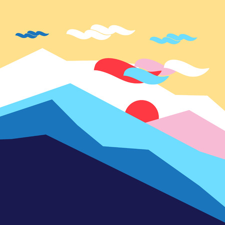 Vector colored silhouettes of mountains and sun landscape. Example for poster or web site design. Иллюстрация