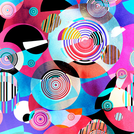 Watercolor abstract background with different geometric color objects Standard-Bild - 118784251