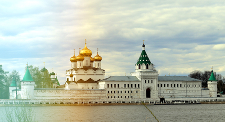 Retro photo Ipatiev Monastery on the Volga River in the old Russian city in the spring Stock Photo