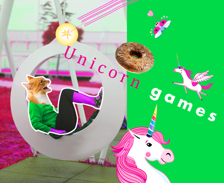 Illustration bright multicolored fashionable with a unicorn and a female cat. Photo collage for registration design for children.
