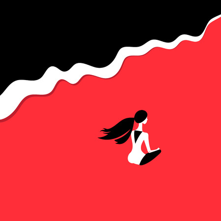 Vector silhouette of a girl on the beach on a red background