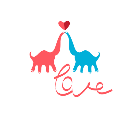 Bright funny greeting card with in love kissing dinosaurs on a white background