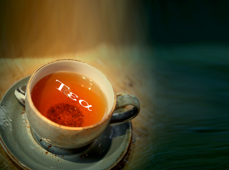 Macro photo photo of delicious herbal tea in a restaurant. Tea party poster.