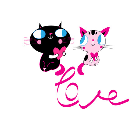 Vector enamored funny kittens and the inscription love on a white background