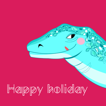 Bright cheerful portrait of a big lizard with a smile on a pink background Foto de archivo - 119425159