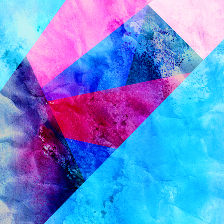 Abstract watercolor background with geometric color objects and interesting shapes Фото со стока - 119425217