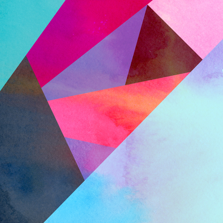 Abstract watercolor background with geometric color objects and interesting shapes 스톡 콘텐츠