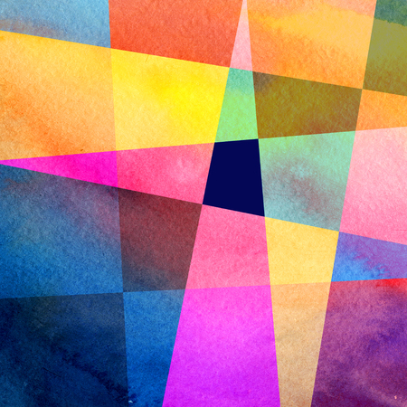 Abstract watercolor background with geometric color objects and interesting shapes Stock Photo