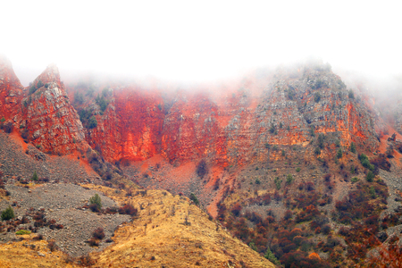 Photo of beautiful fiery red mountains and rocks in Armenia