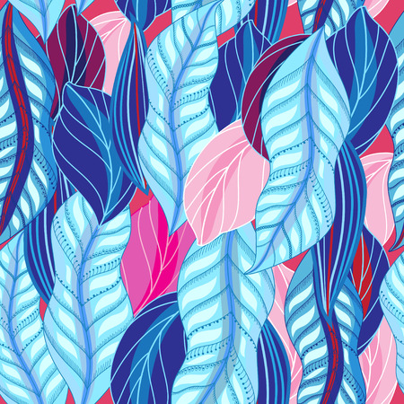 Bright seamless unusual pattern of blue and pink leaves on trendy background