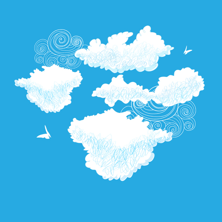 Vector lovely bright outline drawings white clouds on blue background