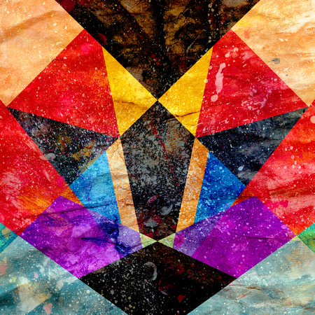 Bright watercolor abstract multi-colored background with geometric objects