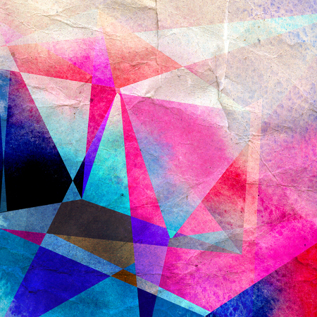 Watercolor abstract colorful background with geometry elements. Background for design template. 版權商用圖片