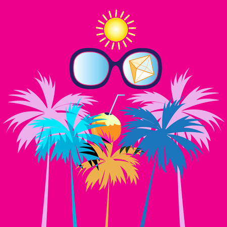 Summer Sunny tropical background with palm trees and glasses Stock Illustratie