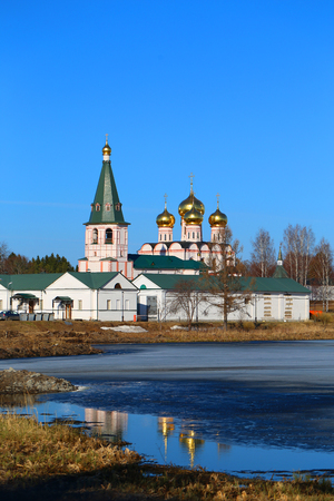 Beautiful photo of the holy monastery in Russia in spring