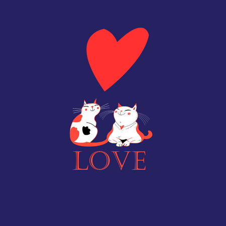 Vector in love with a heart on a blue background Иллюстрация
