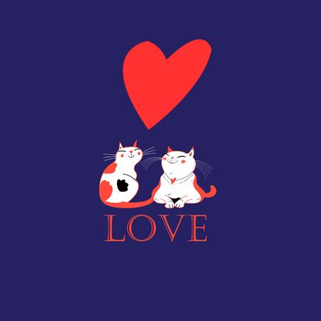 Vector verliefd op een hart op een blauwe achtergrond Vector Illustratie