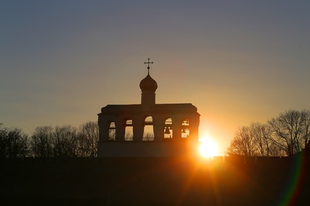 Photo of the bell tower at sunset in Veliky Novgorod
