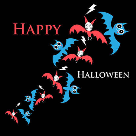 Greeting halloween vector card with funny bats on dark background